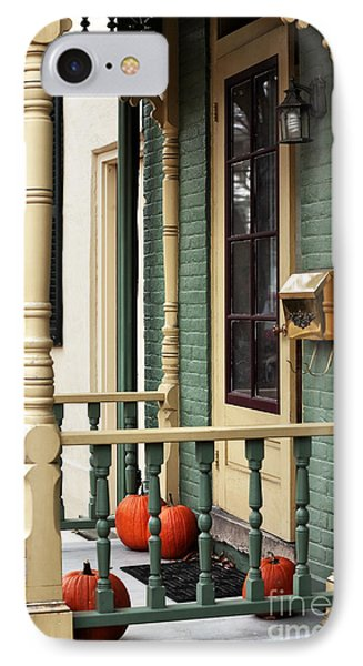 Pumpkins On The Porch Phone Case by John Rizzuto