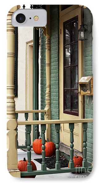 Pumpkins On The Porch IPhone Case by John Rizzuto