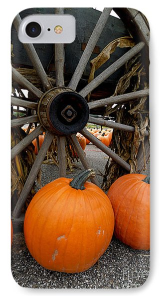 Pumpkins With Old Wagon Phone Case by Amy Cicconi