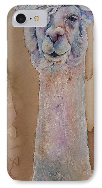 IPhone Case featuring the painting Punk Rock Alpaca by Christy  Freeman