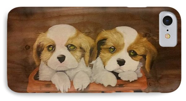 Puppies In A Basket Phone Case by Terrence Lewis