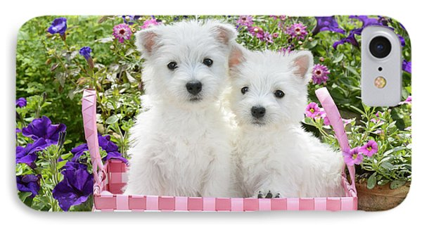 Puppies In A Pink Basket Phone Case by Greg Cuddiford