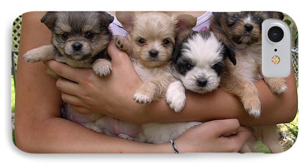 Puppies In Maria's Arms Phone Case by John Lautermilch