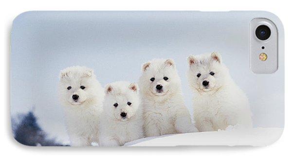 Puppies In Snow Phone Case by Mitsuyoshi  Tatematsu