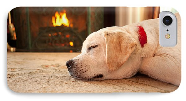 Puppy Sleeping By A Fireplace Phone Case by Diane Diederich
