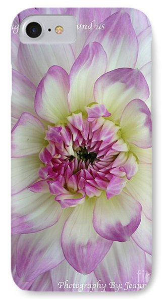 IPhone Case featuring the photograph Purple And Cream Dahlia by Jeannie Rhode