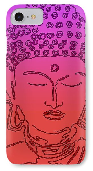 Purple And Red Buddha IPhone Case by Christine Perry