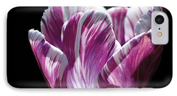 Purple And White Marbled Tulip IPhone Case by Rona Black