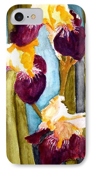 Purple And Yellow Iris IPhone Case by Carol Grimes