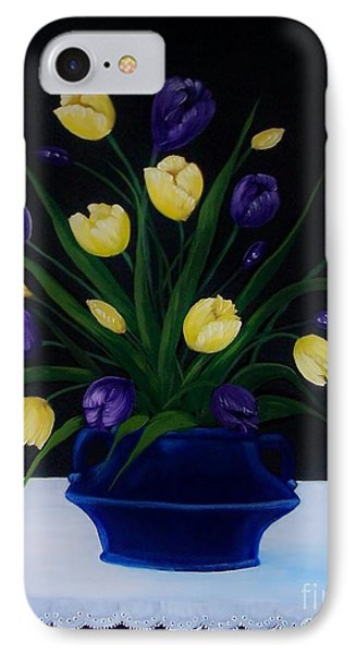 Purple And Yellow Tulips Phone Case by Peggy Miller