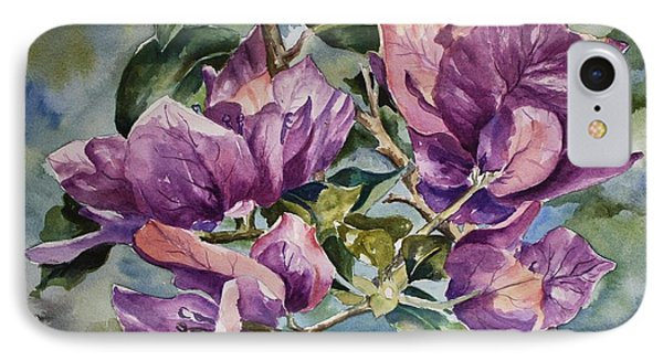 IPhone Case featuring the painting Purple Beauties - Bougainvillea by Roxanne Tobaison