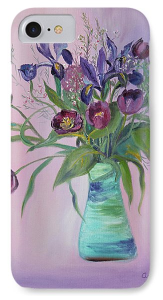 IPhone Case featuring the painting Purple Belle Bouquet  Tulips And Irises by Asha Carolyn Young