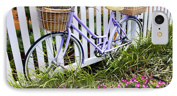 Purple Bicycle And Flowers IPhone Case by David Smith