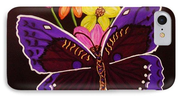 Purple Butterfly IPhone Case by Celeste Manning