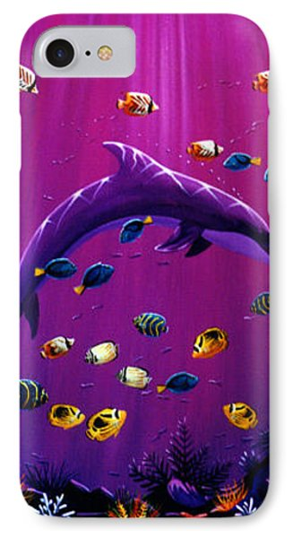 Purple Dolpins IPhone Case by Lance Headlee
