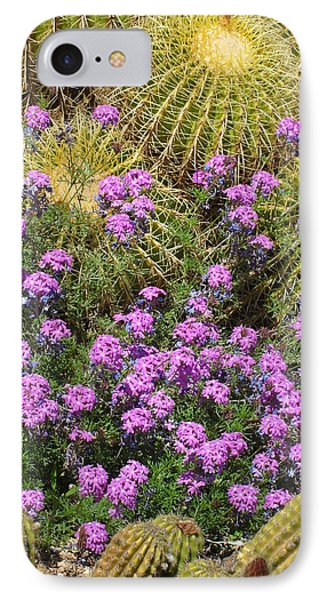 Purple Flowers And Barrel Cacti IPhone Case