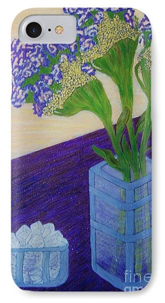 IPhone Case featuring the painting Purple Flowers And Ice by Jasna Gopic