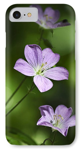 Purple Geranium Flowers Phone Case by Christina Rollo