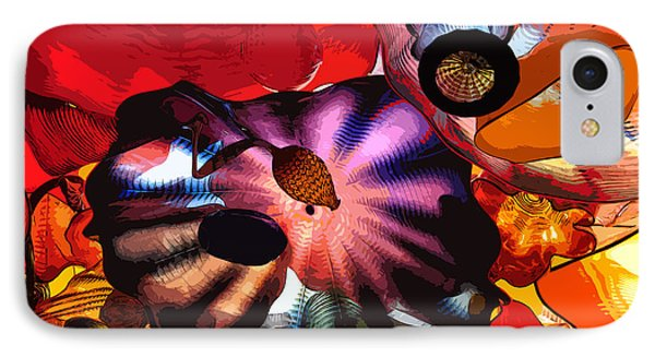 IPhone Case featuring the digital art Purple Glass In Sea Of Red by Kirt Tisdale