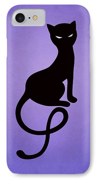 Purple Gracious Evil Black Cat IPhone Case by Boriana Giormova