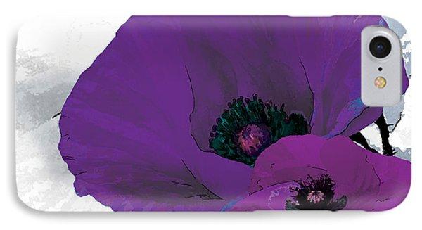 Purple Grey Poppy A Phone Case by Grace Pullen