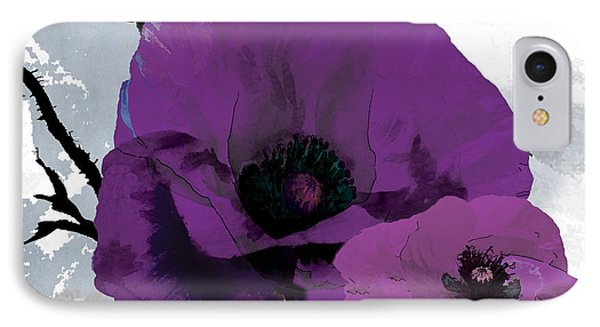 Purple Grey Poppy B IPhone Case by Grace Pullen