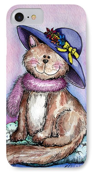 Purple Hat Cat IPhone Case by Dani Abbott
