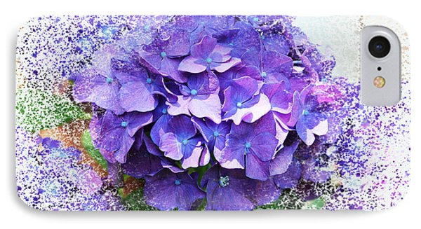 Purple Hydrangea Abstract IPhone Case by Judy Palkimas