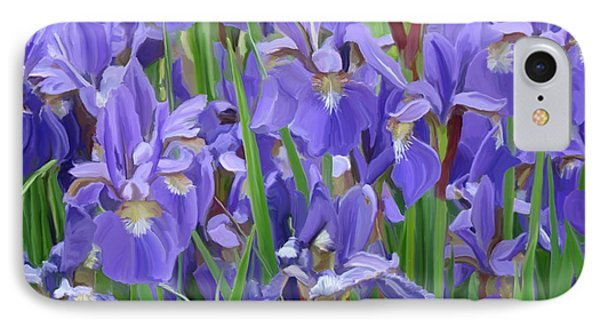 IPhone Case featuring the painting Purple Iris Garden by Tim Gilliland