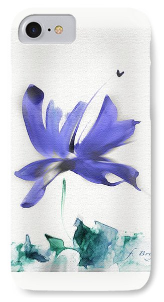 IPhone Case featuring the mixed media Purple Iris In The Greenery by Frank Bright