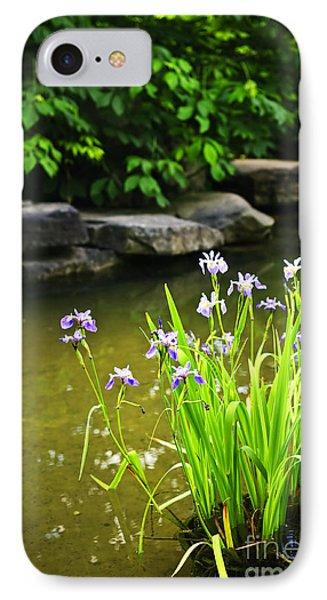 Purple Irises In Pond IPhone Case
