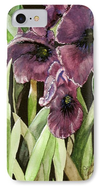 IPhone Case featuring the painting Purple Irises by June Holwell