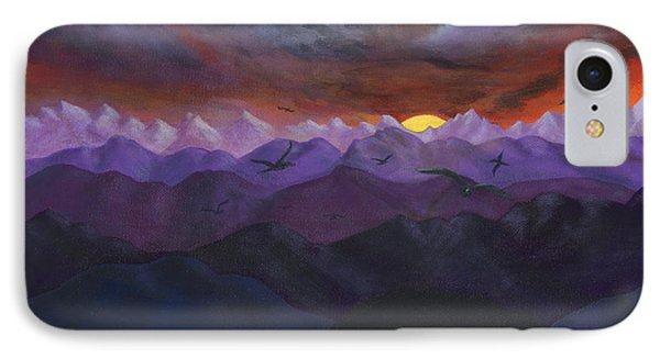 Purple Mountain Sunset Phone Case by Sandy Jasper