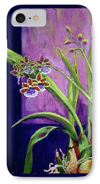 IPhone Case featuring the painting Purple Orchids by Nancy Jolley
