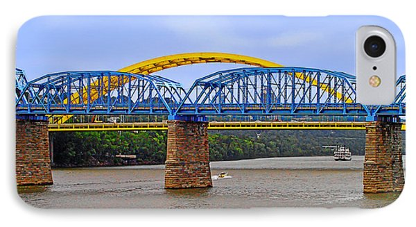 Purple People Bridge And Big Mac Bridge - Ohio River Cincinnati Phone Case by Christine Till