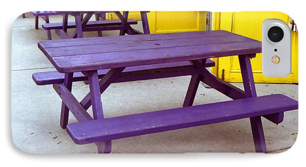 IPhone Case featuring the photograph Purple Picnic Tables Yellow Doors by Tom Brickhouse