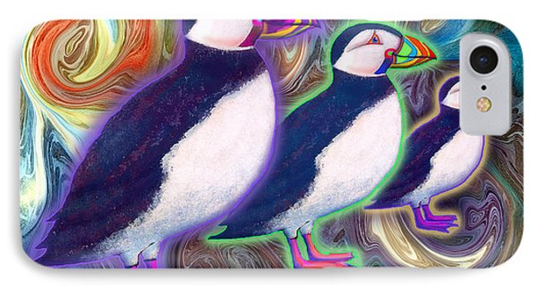 IPhone Case featuring the mixed media Purple Puffins by Teresa Ascone
