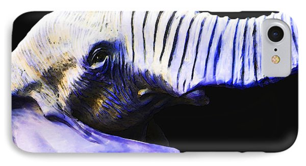 Purple Rein - Vibrant Elephant Head Shot Art IPhone Case by Sharon Cummings