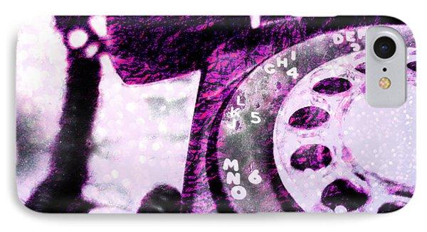 Purple Rotary Phone IPhone Case by Jon Woodhams