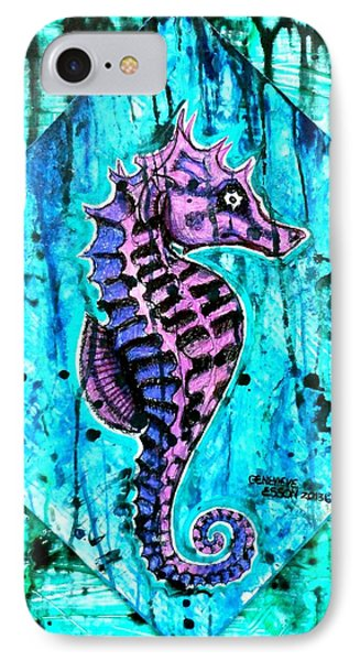 Purple Seahorse IPhone Case by Genevieve Esson