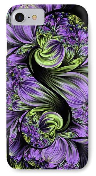 IPhone Case featuring the digital art Purple Silk Flowers by Lea Wiggins