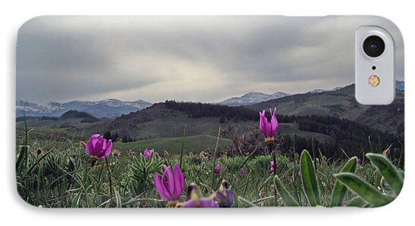 IPhone Case featuring the digital art Purple Spring In The Big Horns by Cathy Anderson