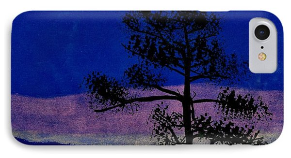 IPhone Case featuring the drawing Purple Sunset Bay by D Hackett