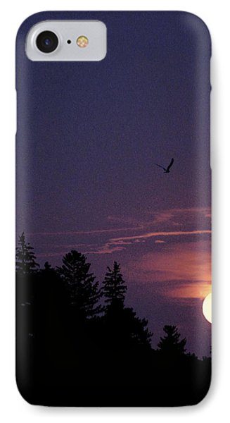 IPhone Case featuring the photograph Purple Sunset With Sea Gull by Peter v Quenter