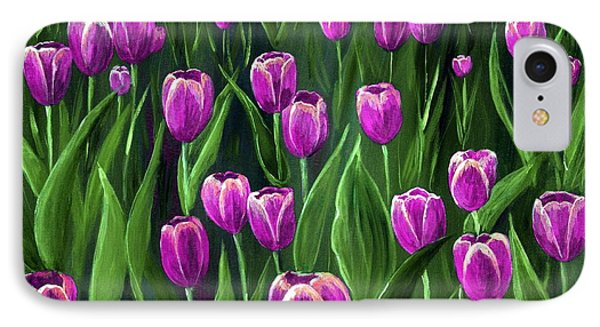Purple Tulip Field IPhone Case by Anastasiya Malakhova