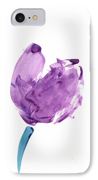 IPhone Case featuring the mixed media Purple Tulip Mixed Media by Frank Bright