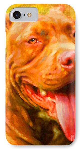 Pit Bull Portrait Phone Case by Iain McDonald