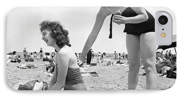 Putting On Sun Tan Lotion IPhone Case by Underwood Archives