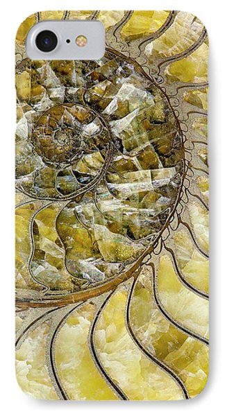 Pyrites Ammonite Spiral Calcite Crystals IPhone Case by Paul D Stewart