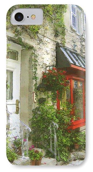 Quaint Street Scene Quebec City IPhone Case by Ann Powell